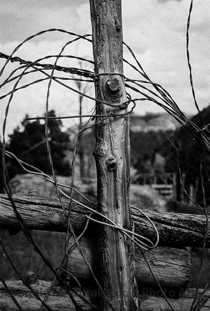 Wrapped wire & Wood post